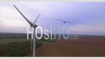 Wind Turbines In Normandy, France – Close Up Aerial Video Drone Footage