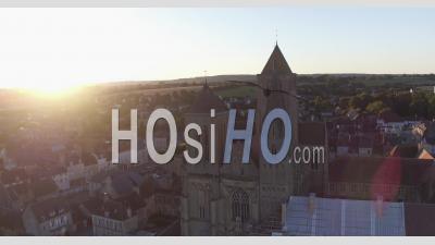 Abbey Of Saint-Pierre-Sur-Dives, Normandie - Video Drone Footage