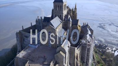 Abbey Of Mont-Saint-Michel, Close Up Of Building, Normandy, France By Drone