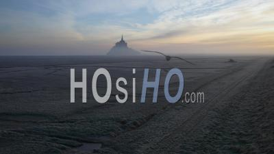 Mont-Saint-Michel, In The Mist, Normandy, France - Video Drone Footage