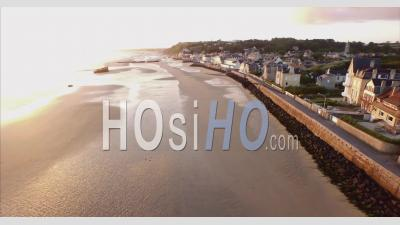 Arromanches Town And Ww2 Mulberry Harbour Remains, Normandy, France – By Drone
