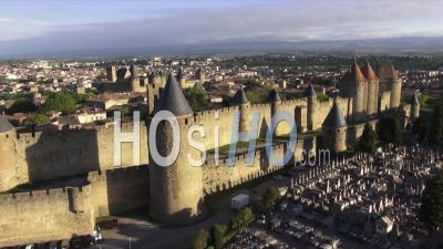 Carcassonne, The Ancient City And Fortress, Aude, Languedoc-Roussillon, France - Video Drone Footage