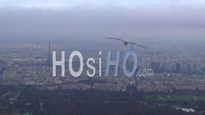 Paris Skyline Cloudy, Seen From Helicopter