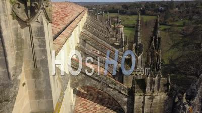 Cathedral Of Bazas In Gironde - Video Drone Footage