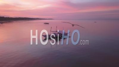 Philippino Diving Boat At Sunrise - Drone Point Of View