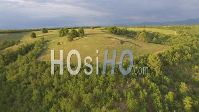 Plateau De Valensole At Dusk And The Lower Slopes Of The French Alps, Alpes-De-Haute-Provence, France – Aerial View By Drone