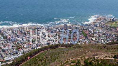 Signal Hill And Paragliders, Cape Town Filmed By Helicopter