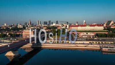 Warsaw Skyline, Old Town, Stare Miasto, Starowka, Warsaw, Warszawa - Video Drone Footage
