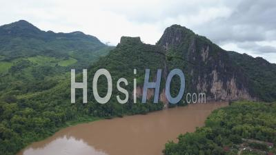 Pak Ou Caves And Village Surroundings, Drone Footage