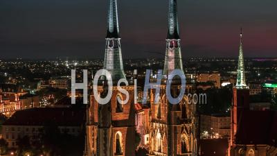 Towers Of Cathedral Of St. John The Baptist, Katedra Swietego Jana Chrzciciela, Old Town, Night, Wroclaw Seen By Drone