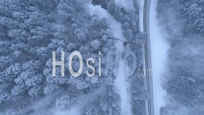 Vercors Roads And Gorges By A Snowy Day - Video Drone Footage