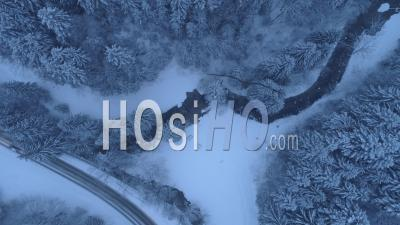 Vercors Roads And Gorges By A Snowy Day, Seen By Drone