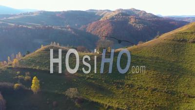 Flying Above Mountain Huts At Autumn - Video Drone Footage