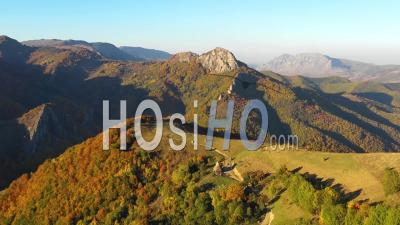 Flying Above Autumn Mountain Scenery - Video Drone Footage