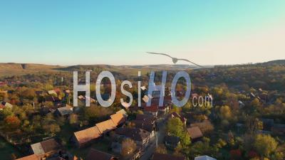 Flying Over A Quiet Village - Video Drone Footage