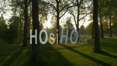 Drone Video Of Sunrise And Walking Paths Hyde Park London England - Video Drone Footage