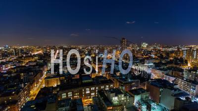 Paysage Urbain De New York, États-Unis, Nyc, Panoramique Du Laps De Temps Du District De Lower Eastside, Nuit - Vidéo Drone