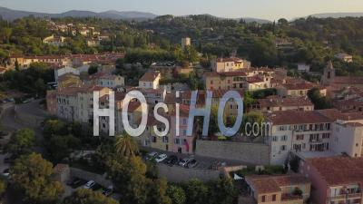 Village Of Tourrettes, Circular View At Sunrise - Video Drone Footage