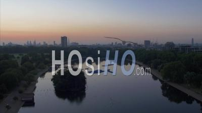 Drone Vidéo Hyde Park View Down The Serpentine Londres Royaume-Uni - Vidéo Drone