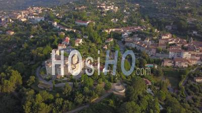 Villages Of Tourrettes And Fayence At Sunrise Video Drone Footage