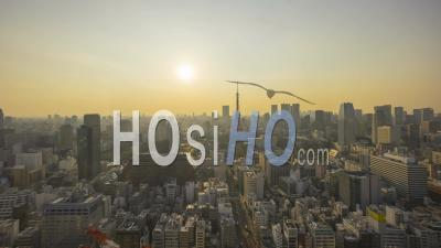 Tokyo City Skyline Withtokyo Tower Timelapse Japan - Drone Point Of View