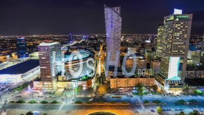 Time Lapse Of City Traffic Island Cityscape On Warsaw, Poland. - Video Drone Footage