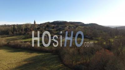 Aerial View Of A Small City On Top Of A Hill In The South-Ouest, Filmed By Drone, France - Video Drone Footage