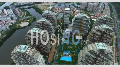 Modern Buildings Of 5-Star Hotels In Day Time In Sanya City, China - Video Drone Footage