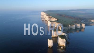 Old Harry Rocks Unesco Jurassic Coast Chalk Rock Formations Uk - Video Drone Footage