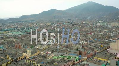 Lima Peru Flying Over Rimac District Panning With Residential Views. - Video Drone Footage