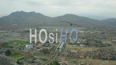 Lima Peru Flying Over El Agustino District Panning. - Video Drone Footage