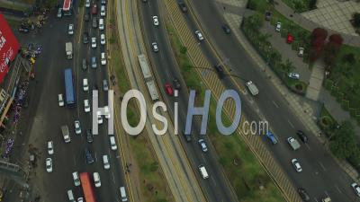 Lima Peru Flying Over Heavy Traffic Looking Down. - Video Drone Footage