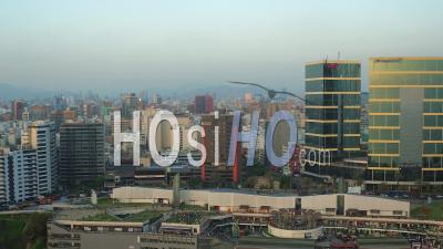 Lima Peru Flying Over Larcomar Mall Panning At Sunset. - Video Drone Footage