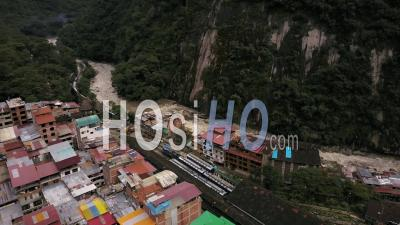 Village Of Aguas Clientes Peru In Th High Andes Nead Machu Picchu - Video Drone Footage