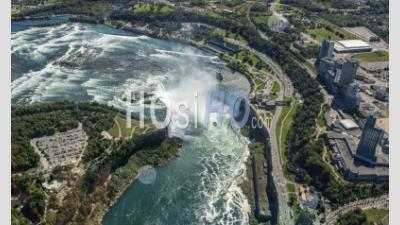 Waterfalls That Together Are Known As Niagara Falls On The Niagara River Along The Canada U.S. Border. - Aerial Photography