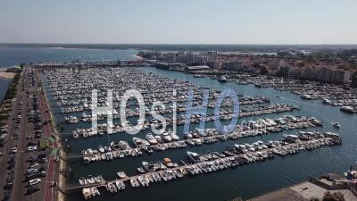 Boats Parked In The Port Of Arcachon, Drone Point Of View