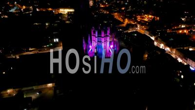 Ely Cathedral At Night Filmed By Drone Point Of View