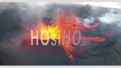 Piton De La Fournaise Volcano Eruption, March 2019 - Video Drone Footage