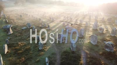 Carnac Stones At Sunrise - Drone Point Of View