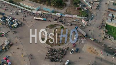 Roundabout In Cotonou (road Of Lome And Rnie1), Video Drone Footage