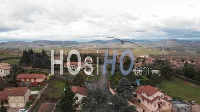 Subdivision In Beaujolais Region - Video Drone Footage