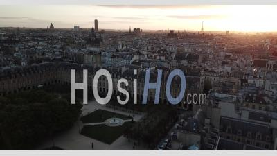 Place Des Vosges And Parisian Roofs At Sunset, Paris - Video Drone Footage