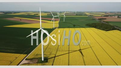Wind Turbines At Spring - Video Drone Footage