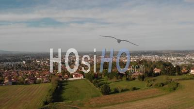 Villefranche Sur Saone In Beaujolais Region - Video Drone Footage