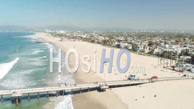 Aerial Over Santa Monica, California - Drone Point Of View