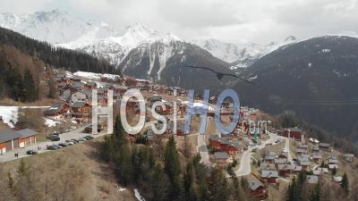 Ski Resort In The French Alps - Video Drone Footage
