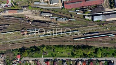 Video Drone Footage Of Old Locomotive Train Depot And Railway Routes