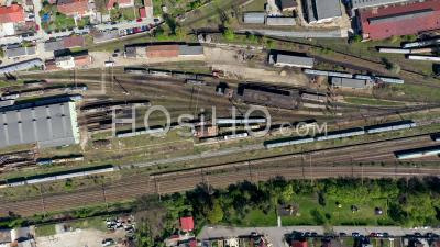 Old Locomotive Train Depot, Parking Iron Horses - Video Drone Footage