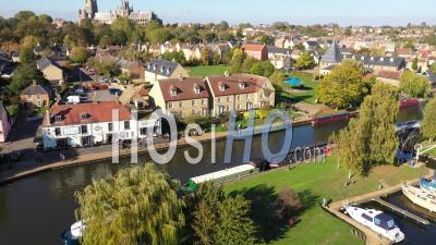 Ely Town And Riverfront Filmed By Drone Point Of View