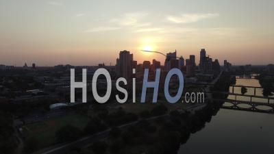 Aerial View Of Austin Skyline At Nightfall - Video Drone Footage